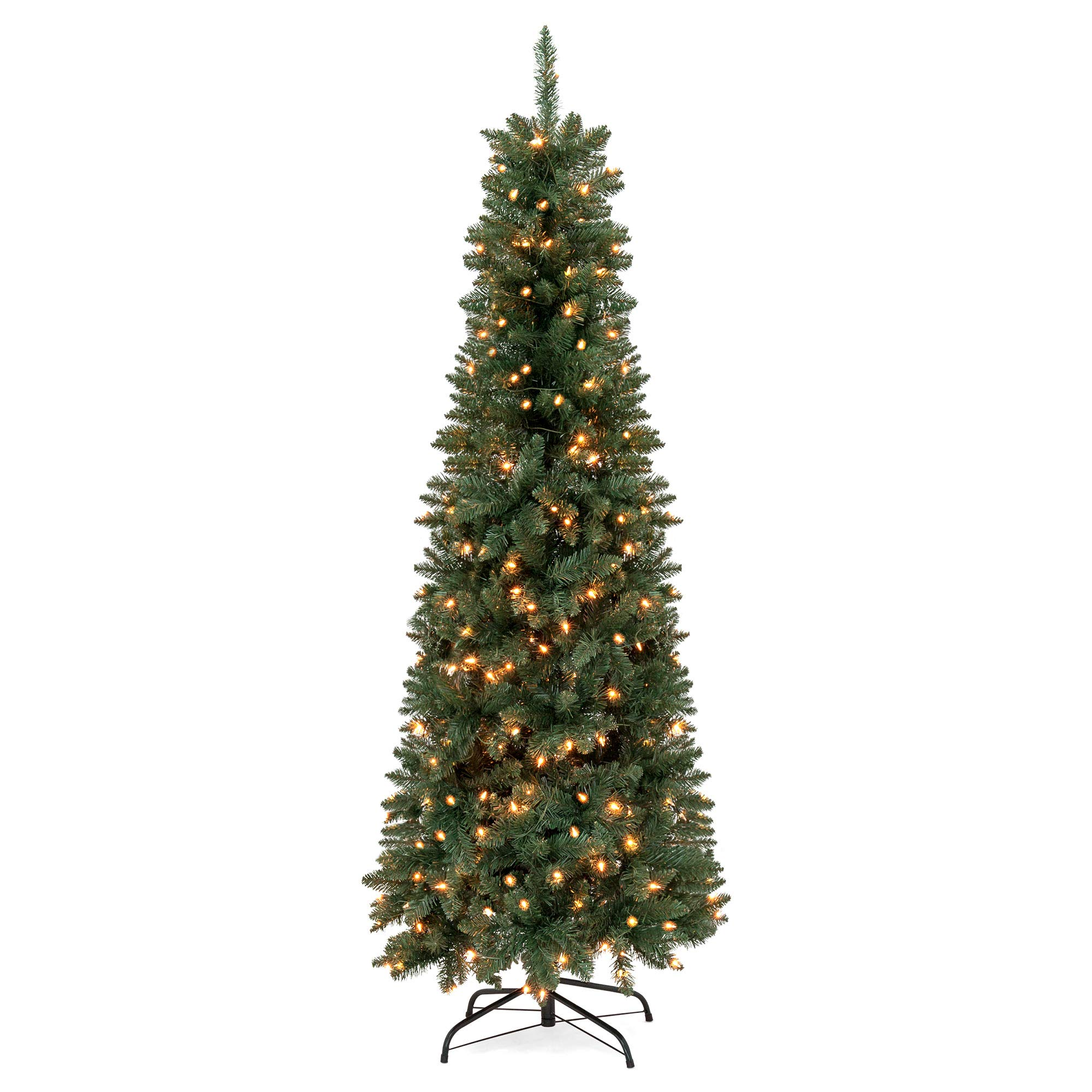 Best Choice Products 7.5ft Pre-Lit Hinged Fir Pencil Artificial Christmas Tree with 350 UL 588 Certified Lights, Foldable Stand, Green