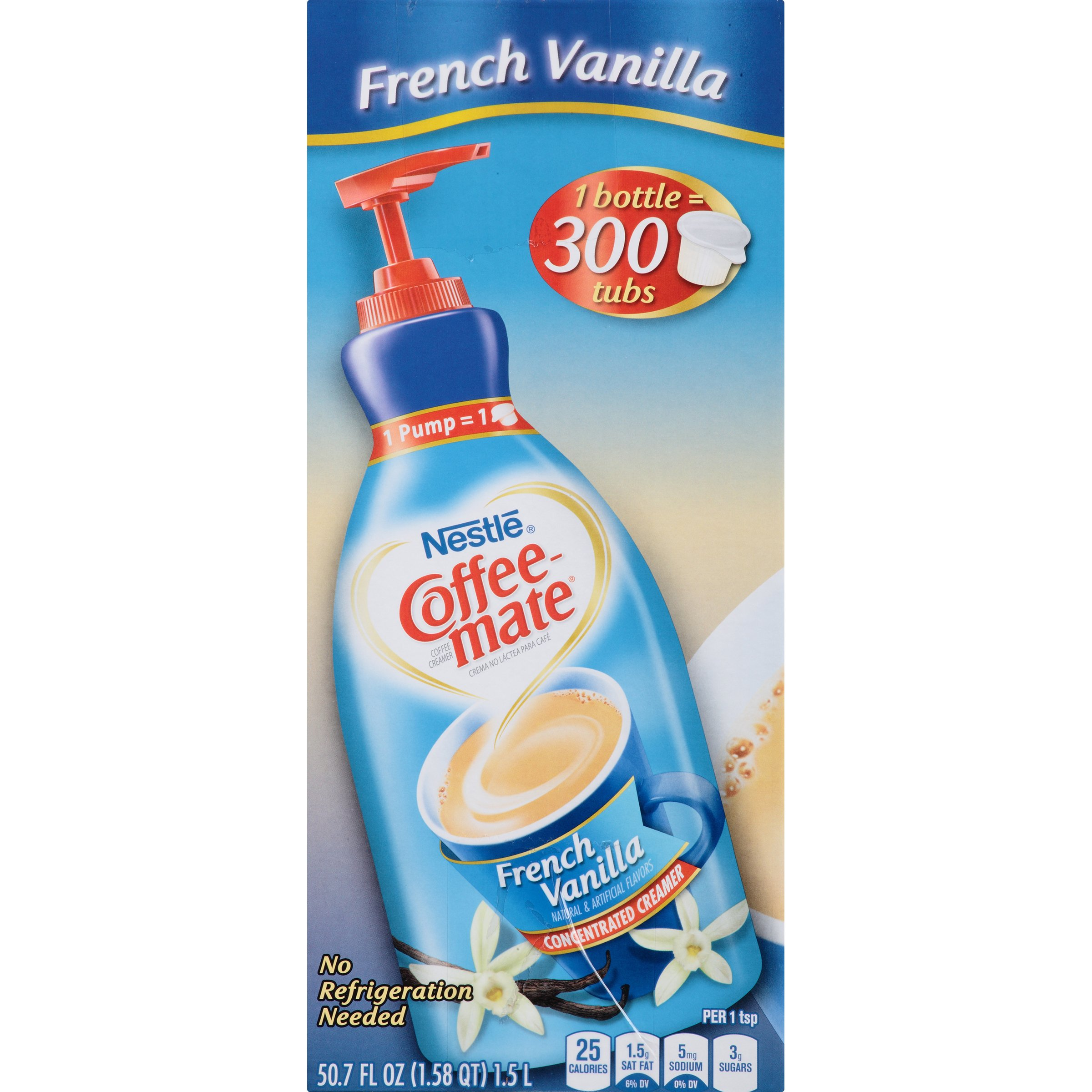 Nestle Coffee-mate Coffee Creamer, French Vanilla,  Liquid Pump Bottle, 50.7 Fl. Oz (Pack of 1) by Nestle Coffee Mate (Image #2)