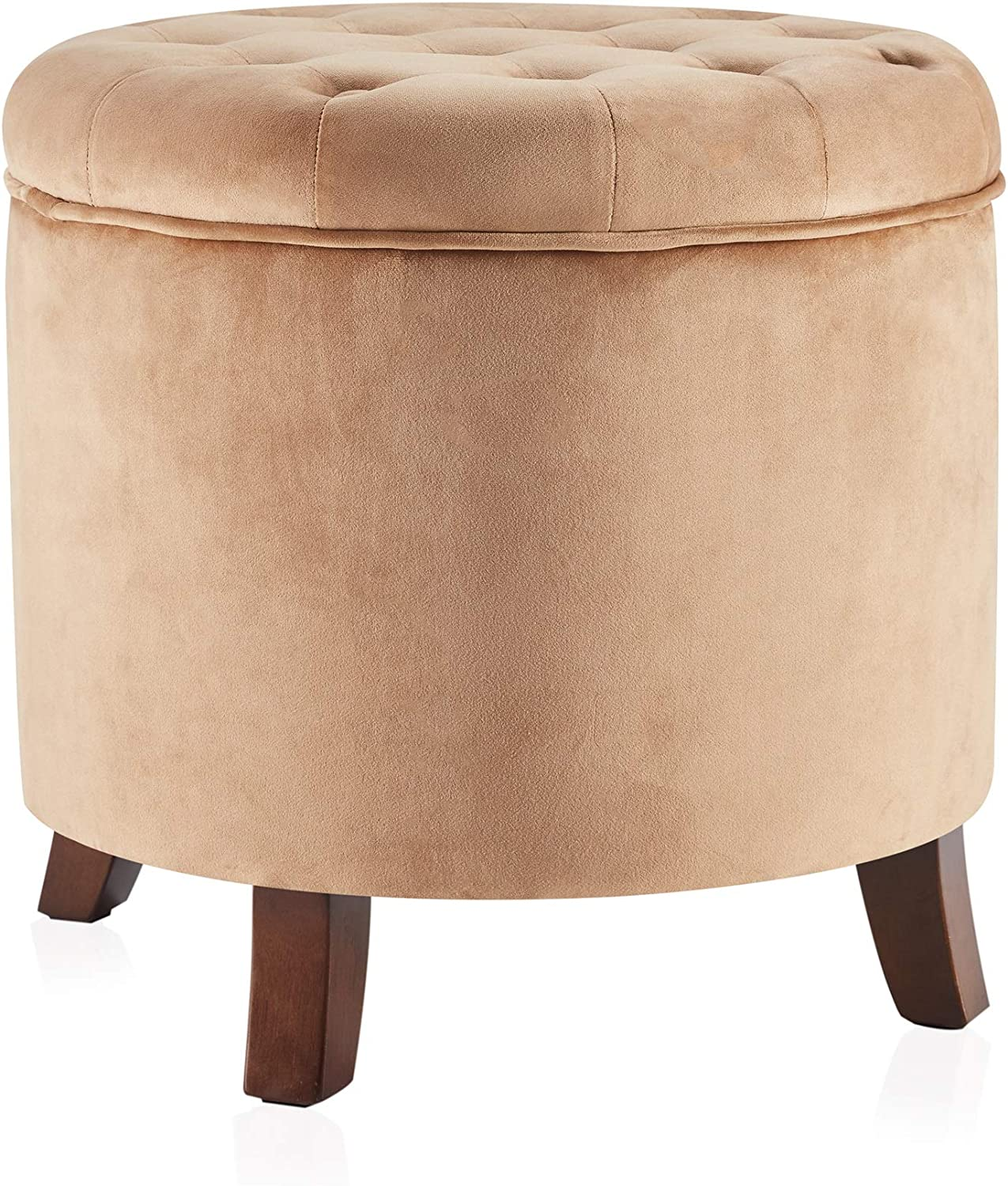 BELLEZE Nailhead Round Tufted Storage Ottoman Large Footrest Stool Coffee Table Lift Top, Tan