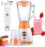 Blender 2 en 1, 800 Watts avec récipient verre 1,5 litres - Comprend aussi un moulin à café, sans Bisphénol A, couteau 4 lames en acier inoxydable, adapté pour smoothies, glace pilée, cocktails, soupes (Orange)