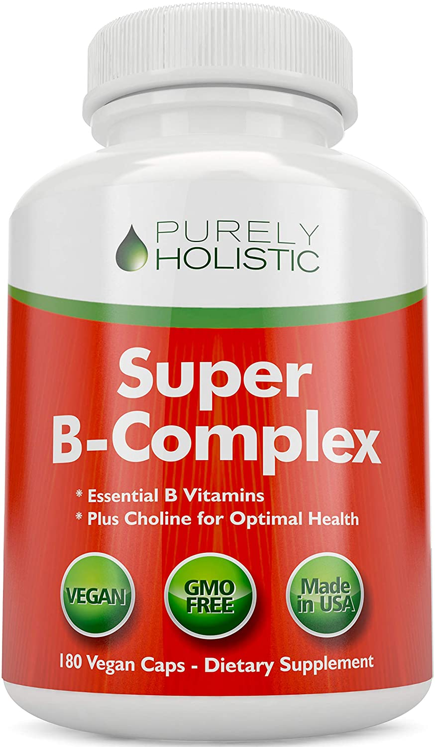 Vitamin B Complex - 8 Super B Complex Vitamins with Choline & Inositol, Vitamins B1, B2, B3, B5, B6, B8, B9 & B12 - B100 Complex - 180 Vegan Capsules - 6 Month Supply - Made in The USA