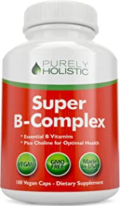 Vitamin B Complex - 8 Super B Complex Vitamins with Choline & Inositol, Vitamins B1, B2, B3, B5, B6, B8, B9 & B12 - B100 Complex - 180 Vegan Capsules - 6 Month Supply - Made in The USA