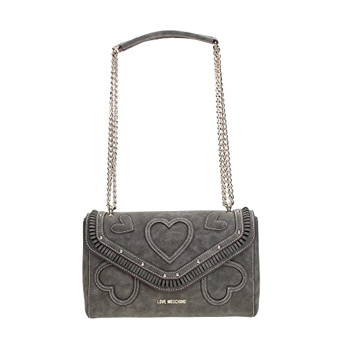 Love Moschino Borsa tracolla in nabuk con patta GRIGIO  Amazon.it  Scarpe e  borse 6698907c58c