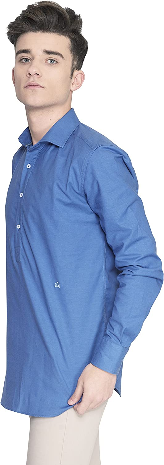 Oxford Mount Albano Ink Blue - Camisa Polera de Hombre Manga Larga Oxford Color Azul Oscuro Tinta: Amazon.es: Ropa y accesorios