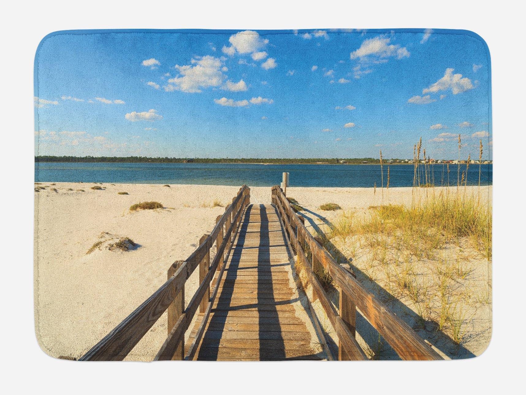 Ambesonne Beach Bath Mat, Perdido Beach and Long Pier Deck Over Sand Gulf of Mexico South America Resort Theme, Plush Bathroom Decor Mat with Non Slip Backing, 29.5 W X 17.5 W Inches, Cream Blue