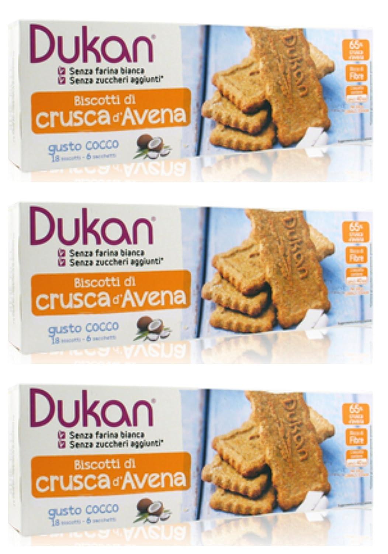 Dukan - Copos de avena con sabor a coco, 3 paquetes de 18 galletas cada uno, rico en fibras, ideal para una deliciosa pausa - [Set con jabón natural para ...