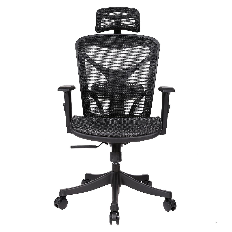 Swteeys Bürostühle mit Armlehne Mesh Back Back Back Swivel Funktion Gasfeder Höhe Einstellen Office Chair (Schwarz) f1ccab