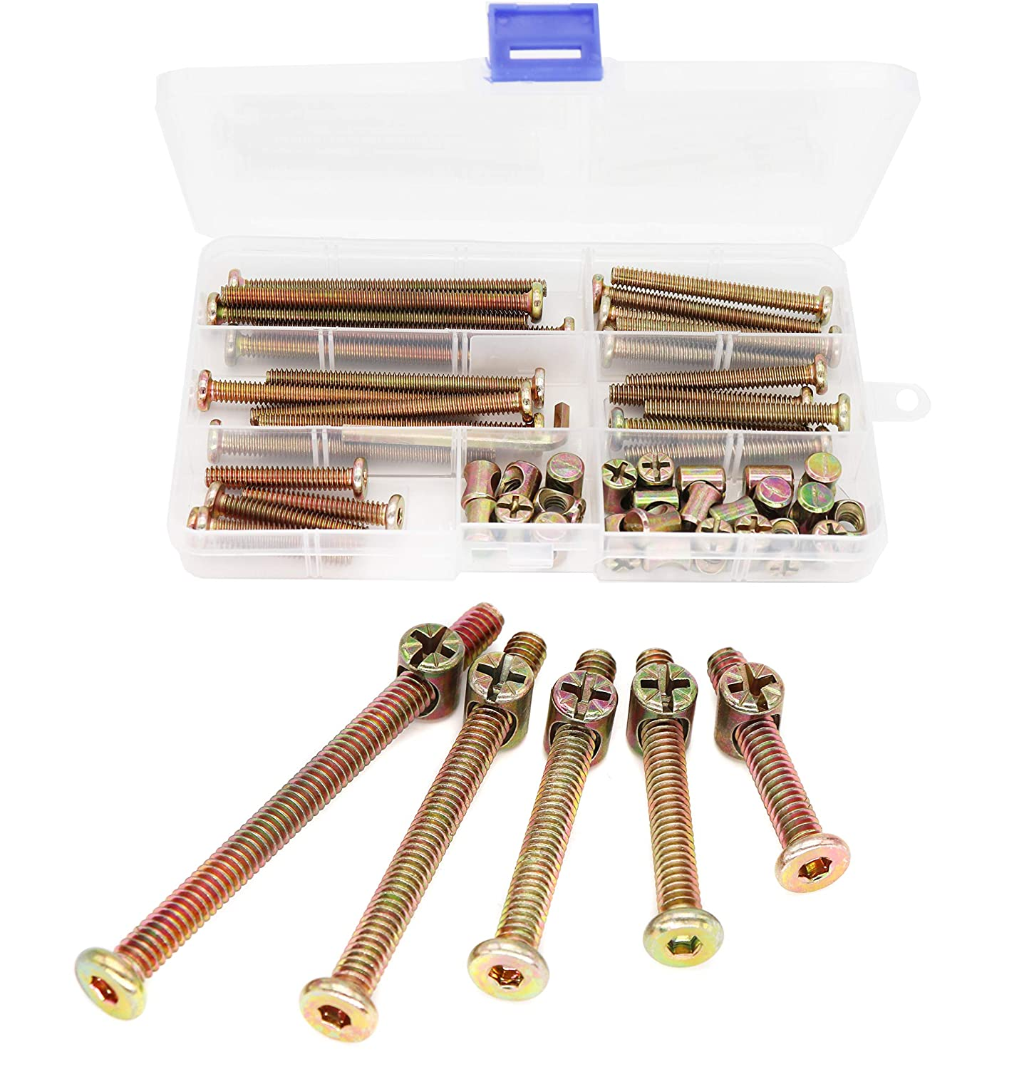 """binifiMux 50pcs 1/4-20"""" Baby Bed Hardware Replacement Kit, Zinc Plated Hex Socket Cap Drive Screws Barrel Nuts Assortment Kit for Cot Chairs Furniture"""