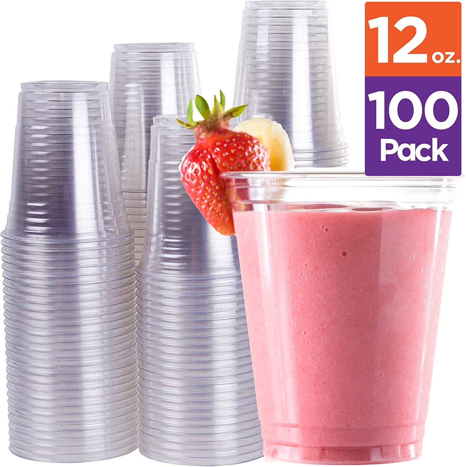 Stack Man - PET12-100 Disposable Plastic Cups 12 oz [100 Pack] Ultra Clear PET Drinking Cups, Perfect Use For Cold Drink, Party, Beer, Smoothies Premium Quality Tumblers