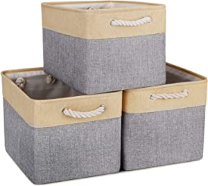 WISELIFE Storage Baskets [3-Pack] Collapsible Canvas Storage Bins for Toys Shoes Decorative Cloth Baskets Boxes for Organizing w/Handles(Grey-Beige Patchwork,15