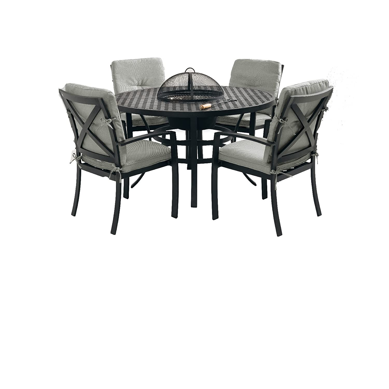 Hartman Set 5tlg 1 Tisch 130 cm 4 Stühle Jamie Oliver Aluminiumguss riven grey