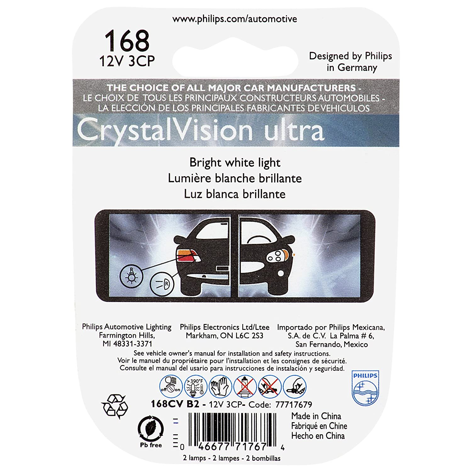 Amazon.com: Philips 168CVB2 168 CrystalVision Ultra Miniature Bulb, 2 Pack: Automotive