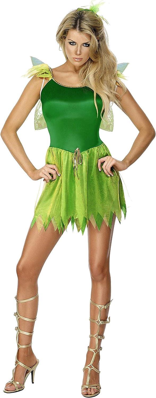 Smiffy's Smiffys- Disfraz de Hada de los bosques, Verde, con Vestido, Pieza para la Cabeza y alas, Color, S - EU Tamaño 36-38 22154S