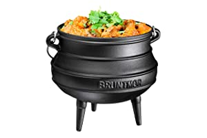 Cast Iron Pre-Seasoned Potjie African Pot, 7 Quarts With Wooden Crate