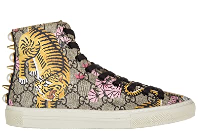 6d6b3b622da0 Gucci Women s Shoes High Top Leather Trainers Sneakers Bengal Tiger Beige  UK Size 7 454592 K6D30