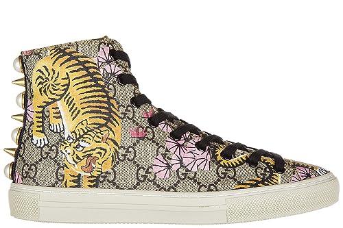 18b0dedf1b721 Gucci Scarpe Sneakers Alte Donna in Pelle Nuove Bengal Tiger Beige   Amazon.it  Scarpe e borse