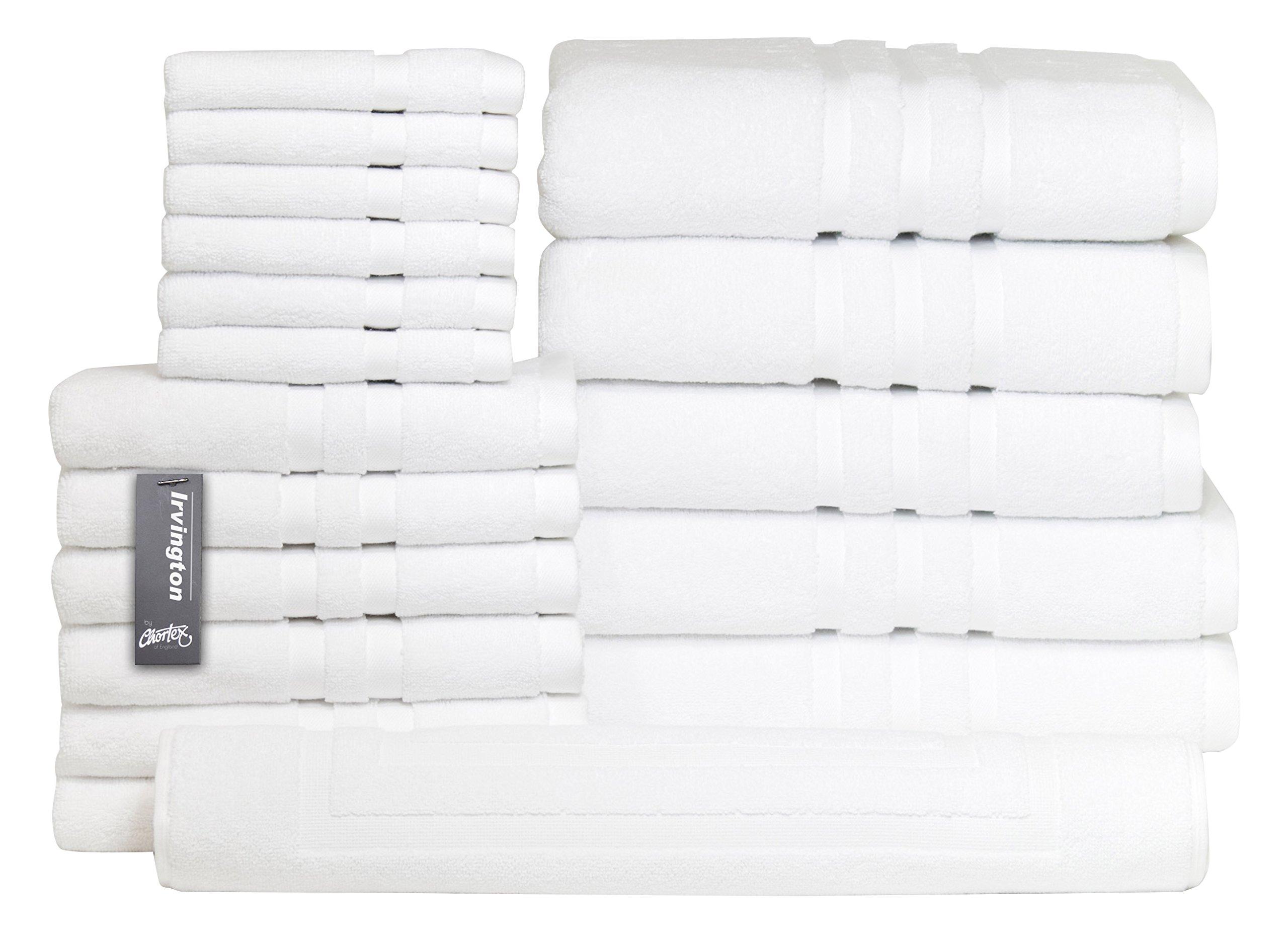 Chortex Luxury Turkish Cotton 18 Piece Towel Set Set of 18, White