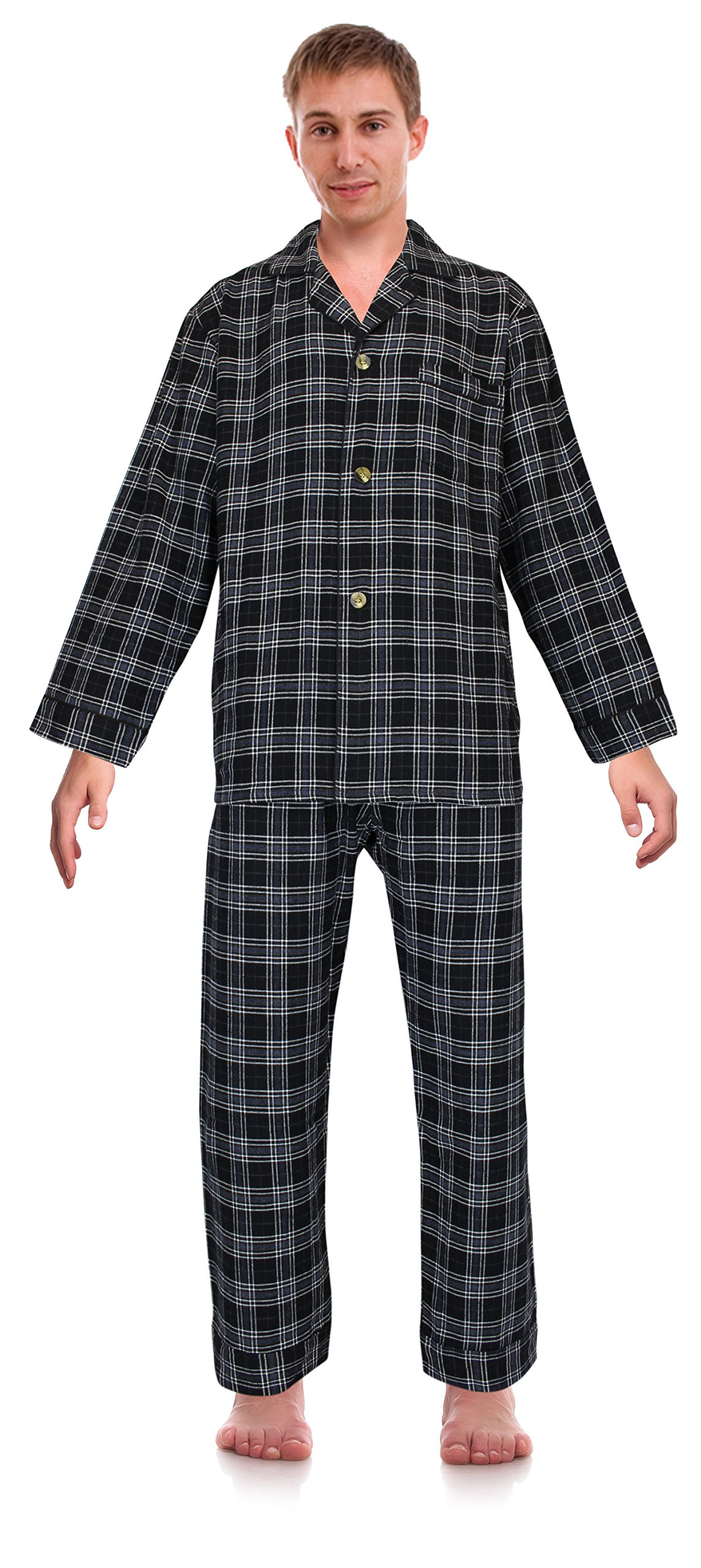 Casual Trends Classical Sleepwear Men's 100% Cotton Flannel Pajama Set, Size X-Large Tall Black