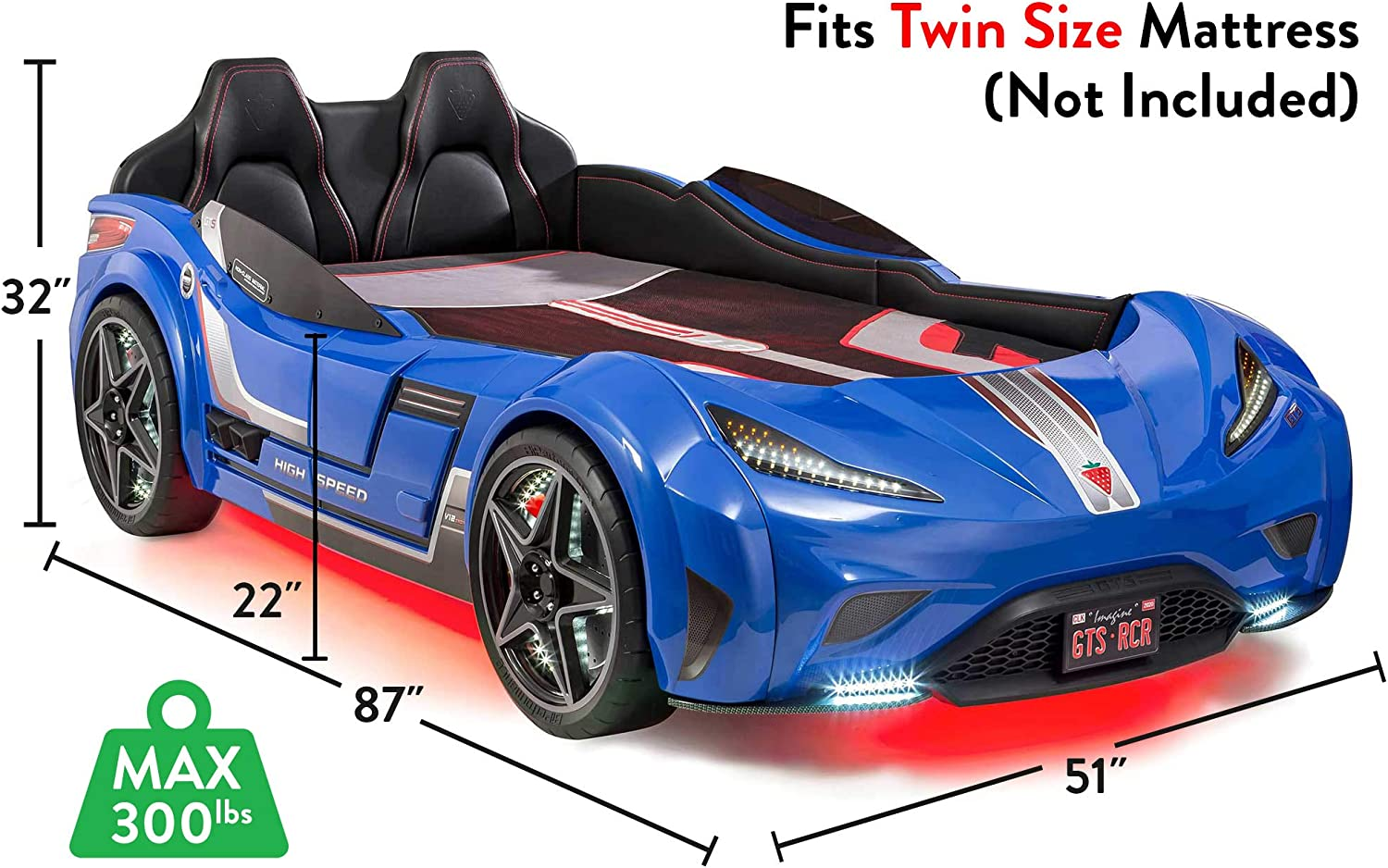 License Plate Interior Padding Blue Upholstered Headboard Cilek Twin Size Kids Race Car Bed Frame Remote Controlled LED Headlights Engine Sound