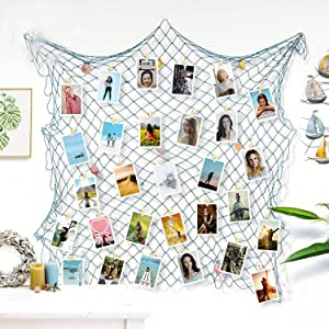 ZUEXT Photo Hanging Display Frames 79x40 Inch, Light Blue Decorative Fishing Net Picture Holder w/ 40 Clips, Artwork Photos Organizer, Nautical Mermaid Theme Fish Net for Home Party Wall Decor