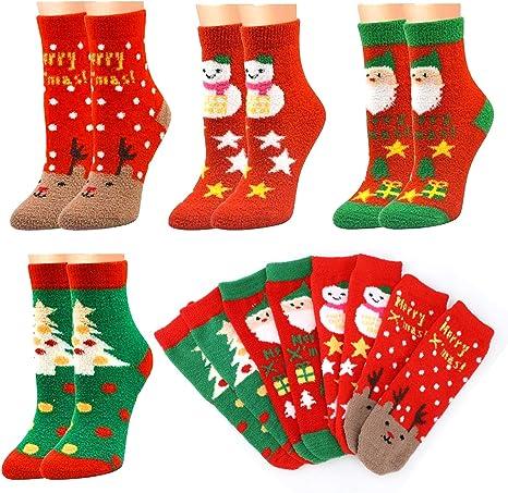 Howaf 8 Coppie Natale Calzini Cotone Caviglia Breve Unisex Donne Ragazze Calzini Inverno Caldo Morbido Calzini Regalo di Natale