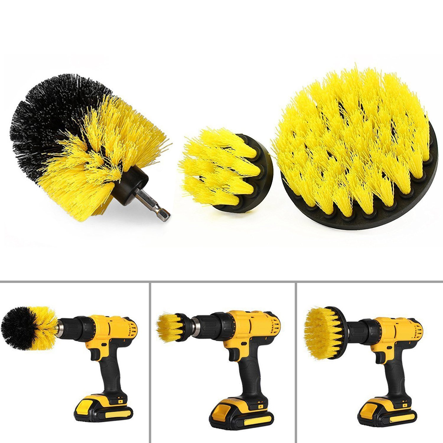 Cleaning Tools ScrubBrushDrillAttachmentKit-FRMARCH3packAllPurposePowerScrubberBrushCleanerforBathroomsurface,Grout,Tile,Tub,Shower,Kitchen, Health & Personal Care