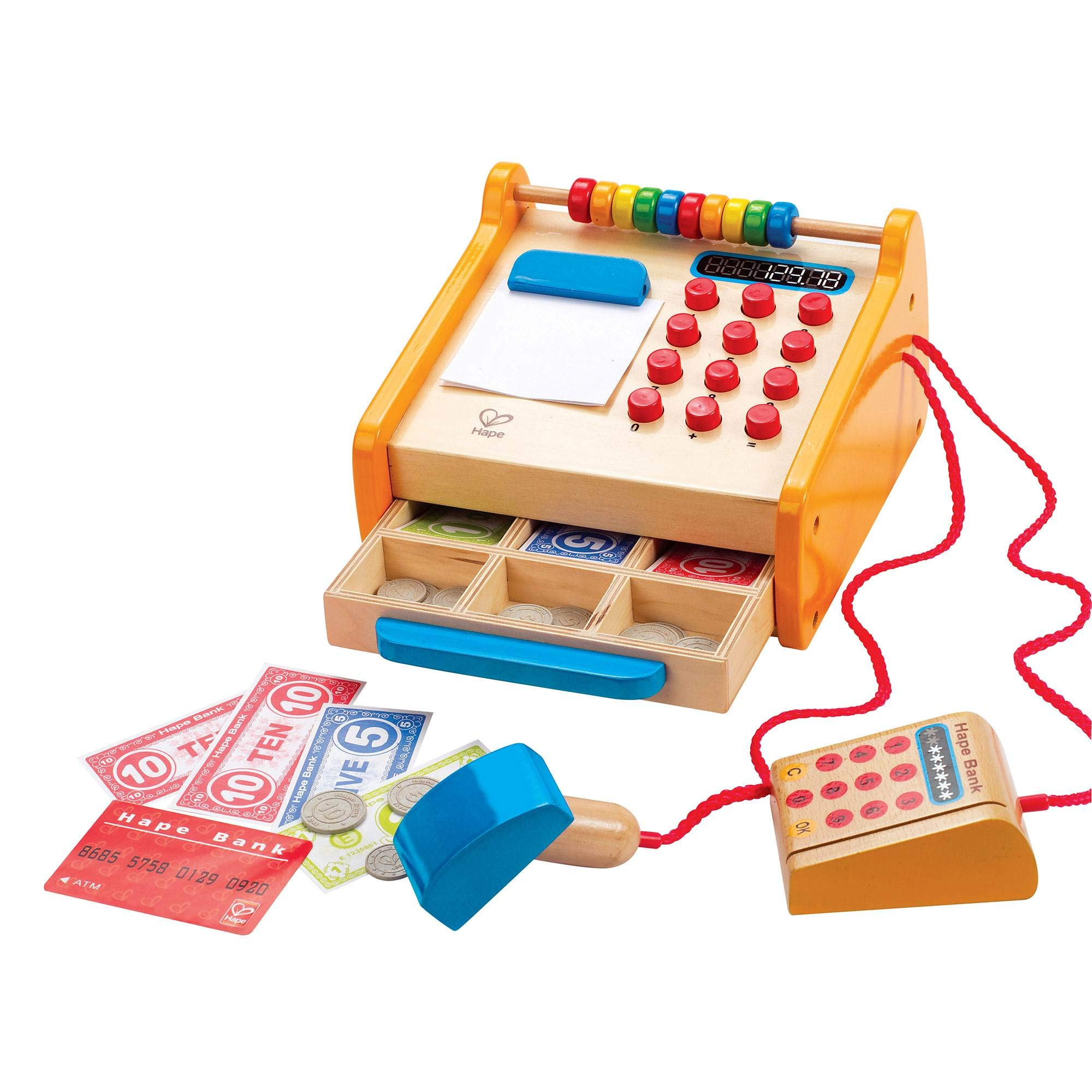 Hape Toys Kids Wooden Cash Register Pretend Playset Wooden Shopping Cart by Hape (Image #2)