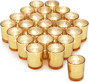 Gold Votive Candle Holder Set of 24 ,HabiLife Mercury Glass Tealight Candle Holder,Adds The Perfect Ambiance to Your Wedding/Home Decor