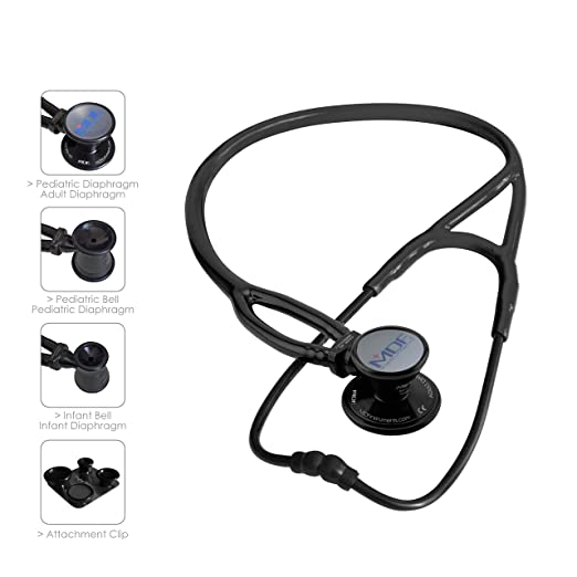 litmann cardiology iii, MDF ProCardial ERA Cardiology Lightweight Dual Head Stethoscope with Adult, Pediatric, and Infant-Neonatal convertible chestpiece - All Black (MDF797X-BO)
