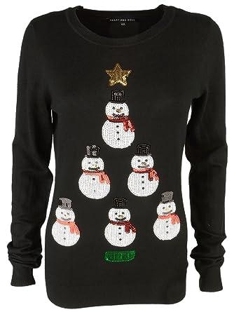 Heart & Soul Women's 'Snowman Tower' Novelty Knitted Sequin Christmas Jumper  Top Black 8