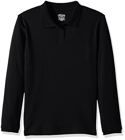 292dc06e Classroom School Uniforms Big Girls Long Sleeve Fitted Interlock Polo, sos  Black, S
