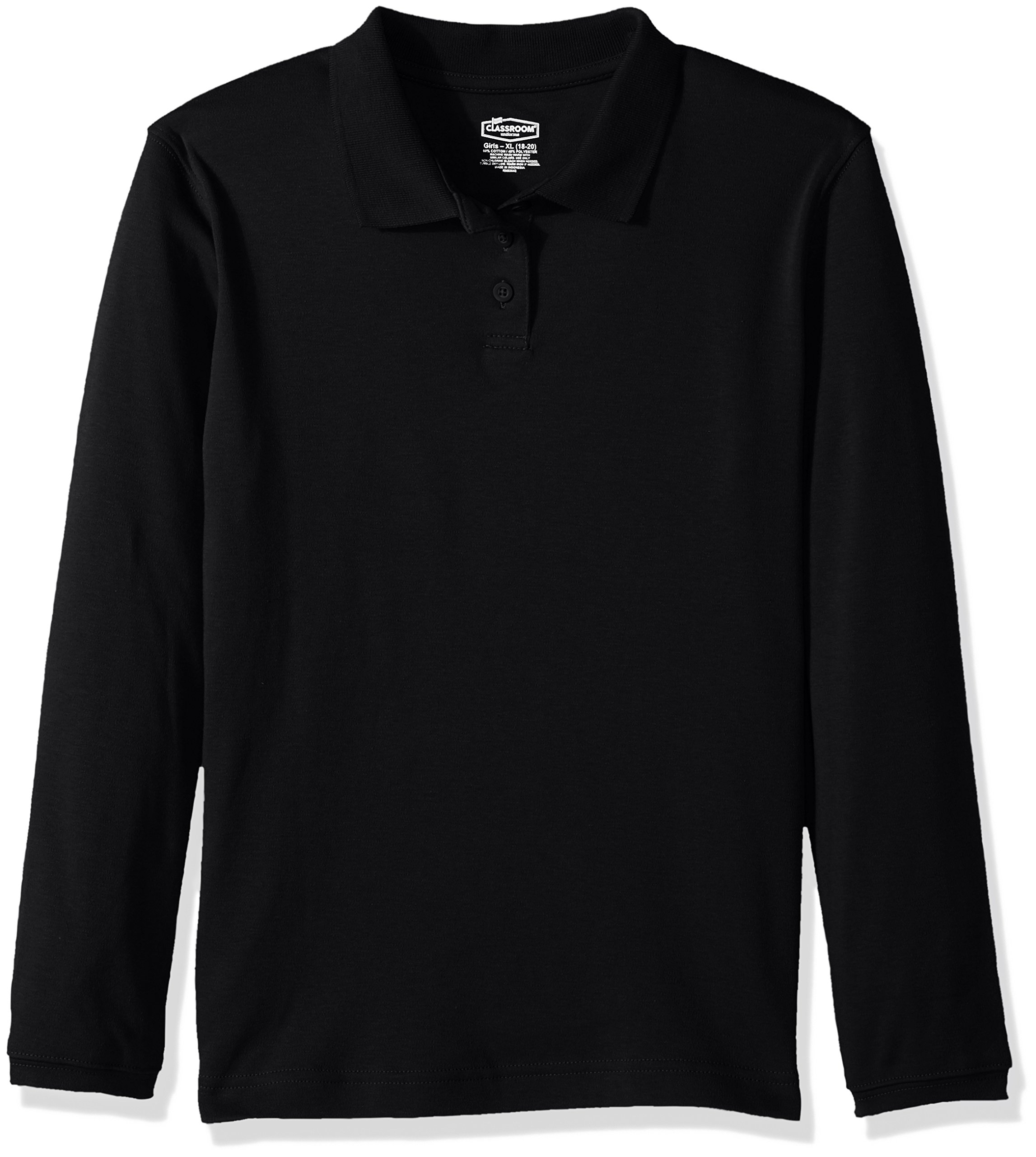Classroom Big Girls' Long Sleeve Fitted Interlock Polo, Sos Black, S