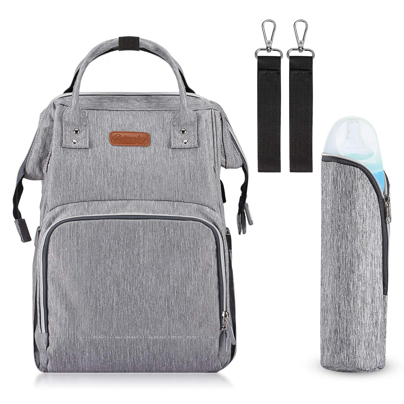 Gray Waterproof and Stylish BESTOPE Diaper Bag Multi-Function Travel Backpack with Stroller Straps 2 Pack and Changing Pad for Baby Care Large Capacity