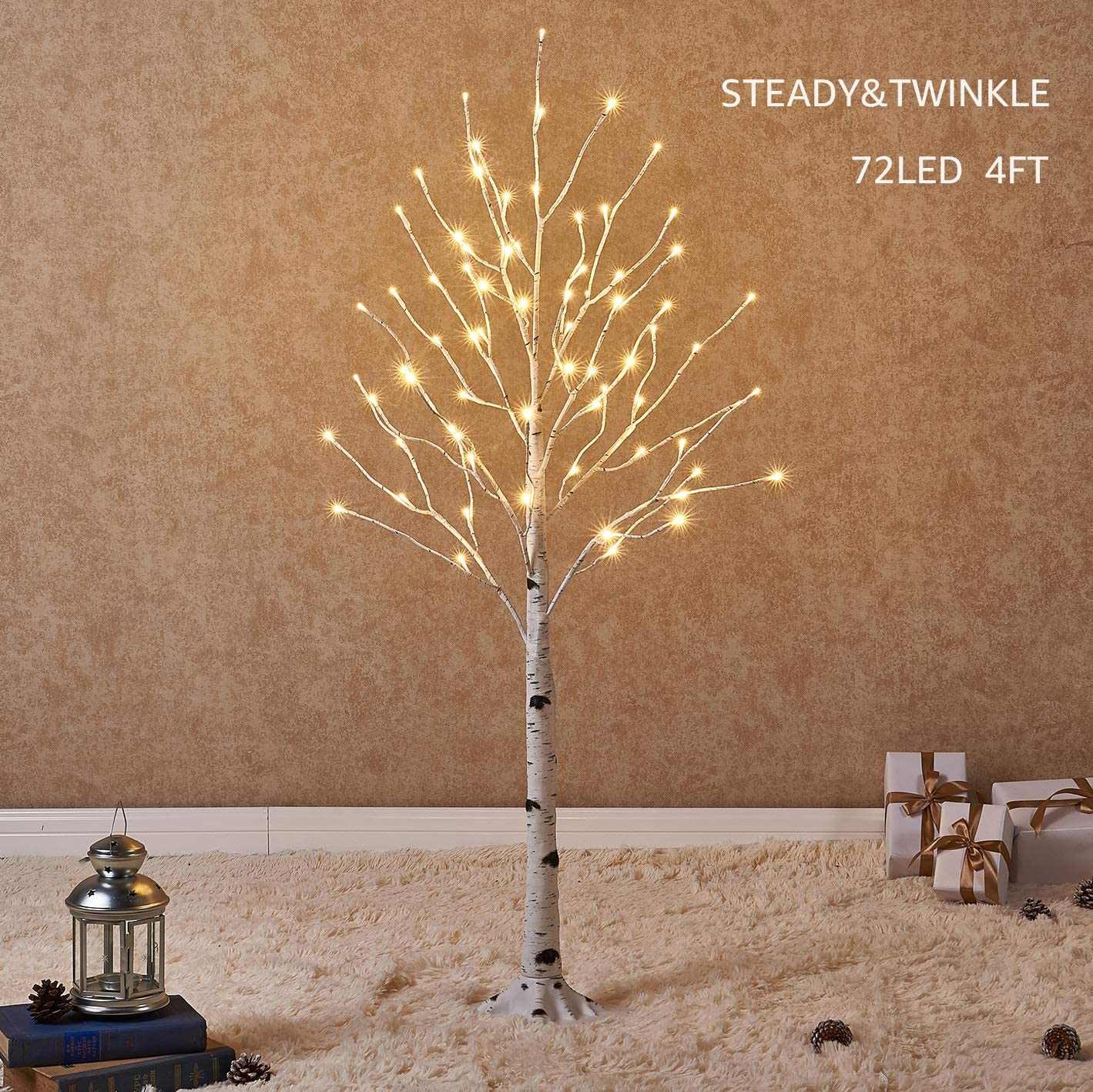 Hairui Prelit White Birch Tree with LED Lights 4FT 72L for Christmas Holiday Party Decorations Tree Plug in Indoor Outdoor Use