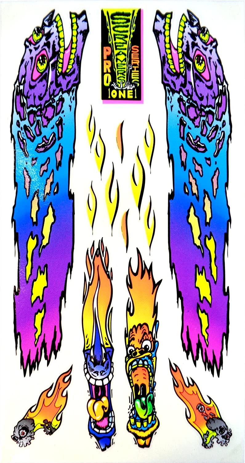 Neon Flaming Faces and Skulls Screamers Pro Series 1 9 Sticker Decal Set Rad Decalz