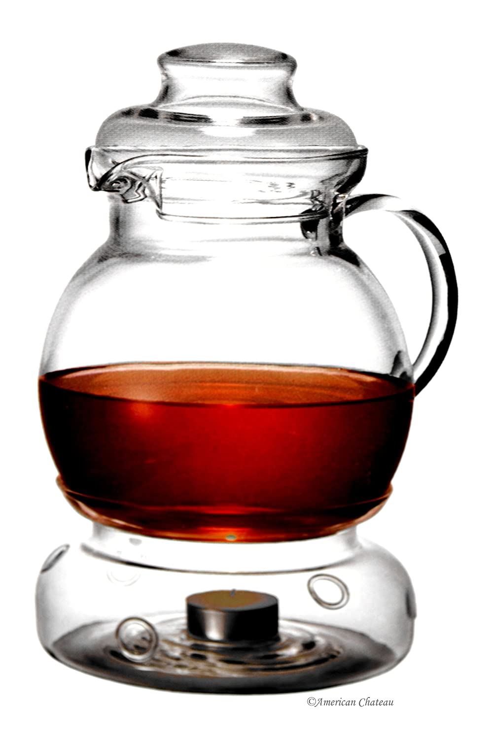 Large 51oz/1.5L Polish Heat Resistant Glass Teapot Kettle With Matching Warmer American Chateau