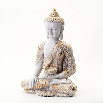 Asiatische Dekorationsartikel a 740 buddha figur farbe gold weiss 33cm asiatische deko für das