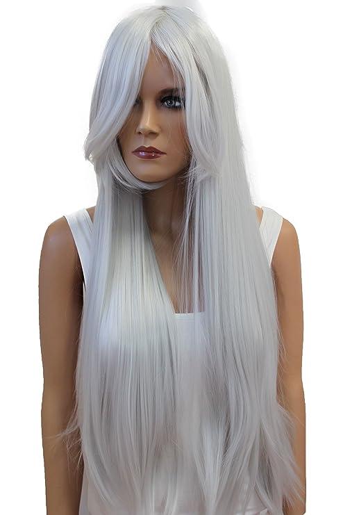 PRETTYSHOP Peluca de pelo largo rizado de fibra sintética resistente al calor blanco gris CP23