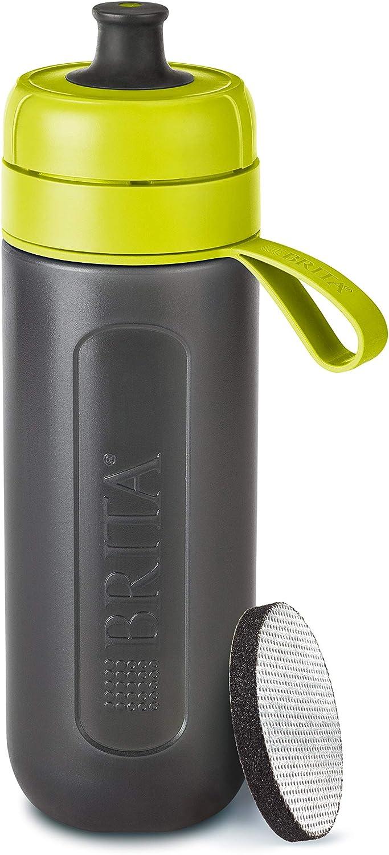 BRITA Active Filtro Tecnología MicroDisc, Óptimo Sabor para Disfrutar en Cualquier Lugar, Botella de Agua sin BPA, Lima, 7.6 x 8 x 25.5 cm