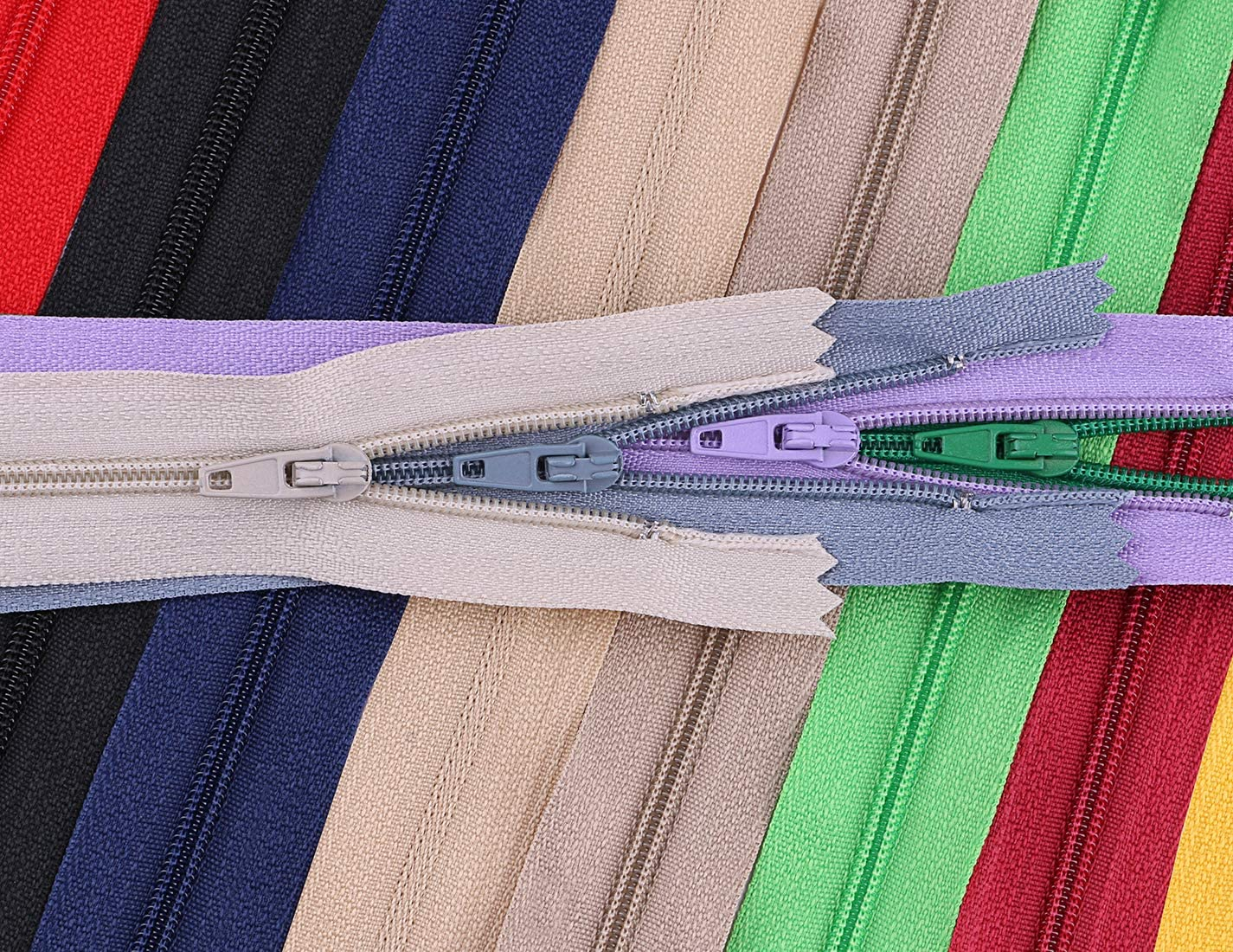 Driew Zipper 9 Inches Pack of 66 Coil Zippers Replacement Bulk Sewing Crafting Tailor DIY Material Mixed Color