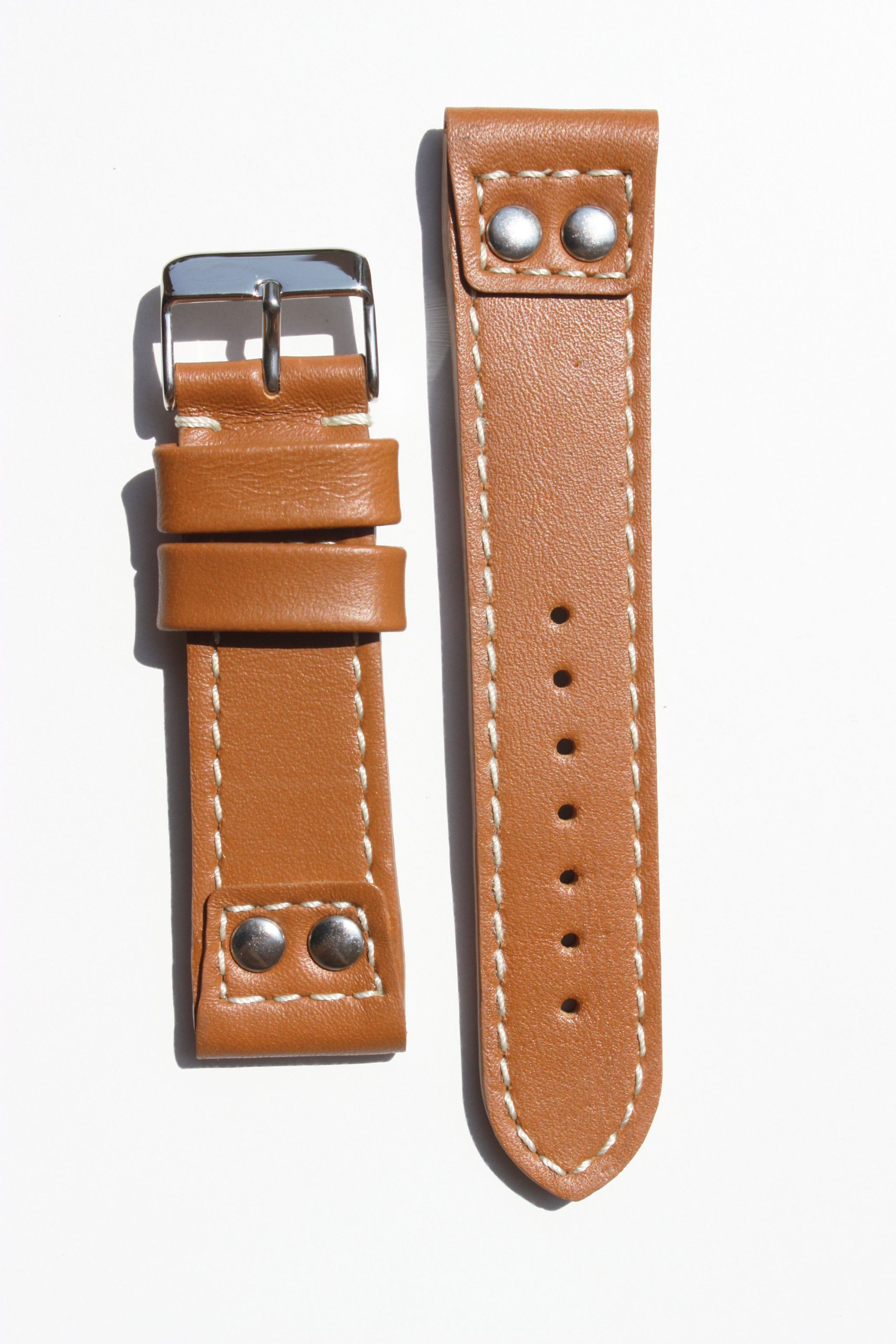 Panerai 22mm Tan Pilot Style Watchband with Contrast Stitch and Water Resistant Lining