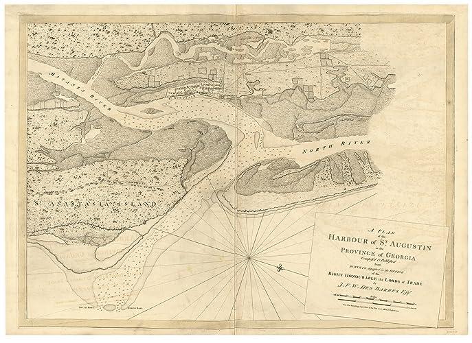 Amazon.com: St. Augustine Harbor, Florida ca1780 Map - Revolutionary ...