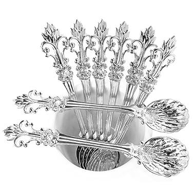 Mini Spoons Set of 8 by Movalyfe Kitchen - Coffee Espresso Demitasse Vintage Spoon 4.5  Long (Sliver)