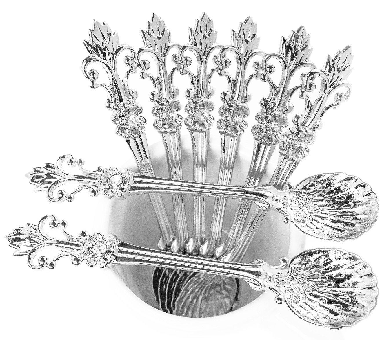 Mini Spoons Set of 8 by Movalyfe Kitchen - Coffee Espresso Demitasse Vintage Spoon 4.5'' Long (Sliver)