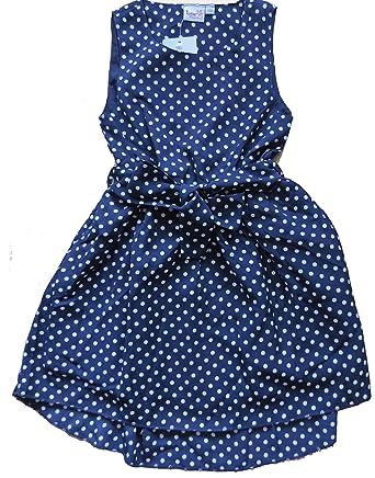 Madchen kleid blau mit weiben punkten