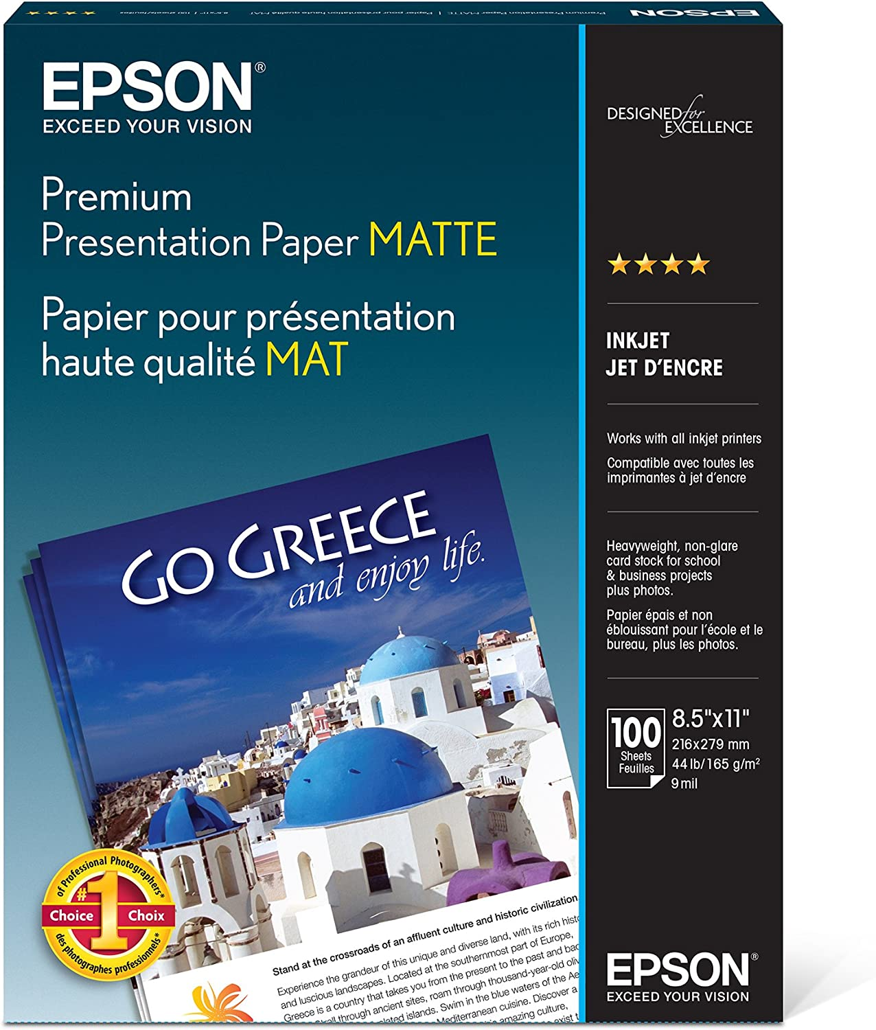 Epson Premium Presentation Paper MATTE 8.5x11 Inches Double sided 50 Sheets NEW