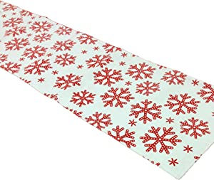 Flato Snow Flakes Festive Table Runner 13 By 54 Inch, Red & White