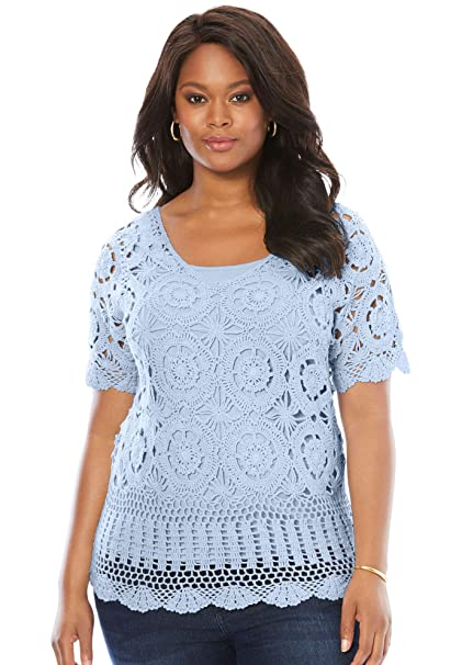 Roamans Women\'s Plus Size Crochet Sweater