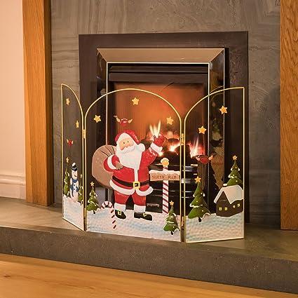 Christmas Fireplace Screen.3 Panel Fireguard Fireplace Screen Santa Claus Father Christmas 49cm