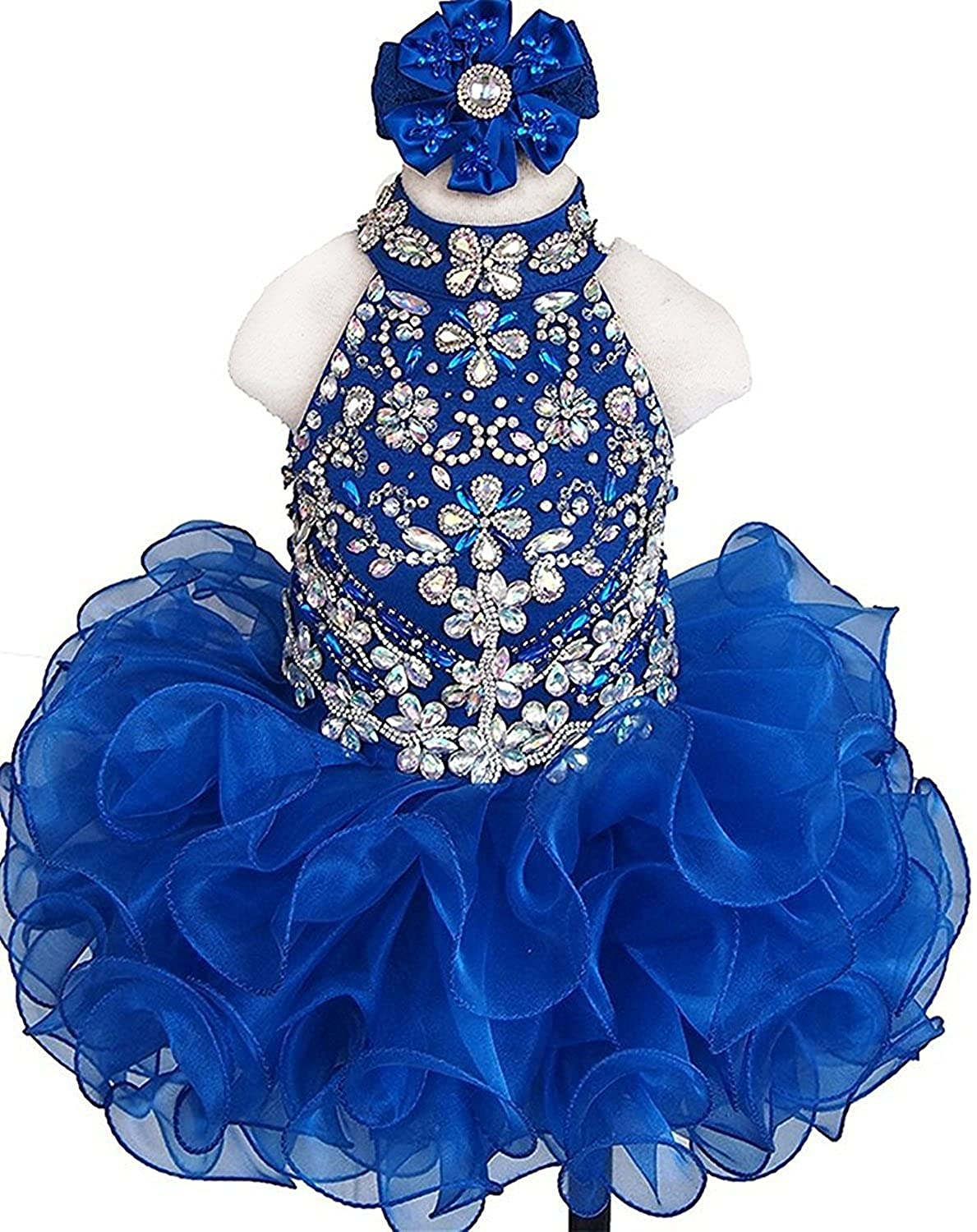 HuaMei Baby Girls Halter Ruffled Kids Birthday Party Cupcake Pageant Dresses